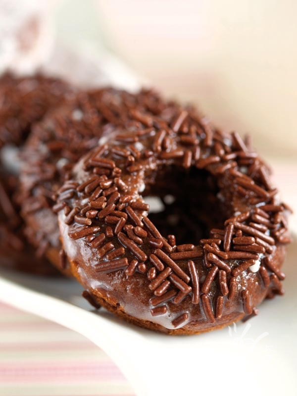 Donuts with chocolate icing